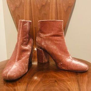Zara Velvet Block Heel Ankle Boot